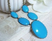Blue Turquoise Statement Necklace/Turquoise Cabochons Necklace/Turquoise Necklace/Turquoise