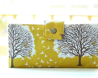 Handmade vegan wallet clutch Yellow Tree