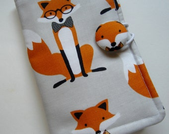 Fox Tea Wallet, Fox Fabric with Foxes in Glasses and Ties on Gray Background