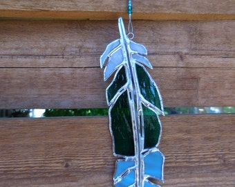 Stained Glass Feather-Handmade-Suncatcher-Window Decor-Mothers Day-Fathers Day-Anniversary-House Warming-Birthday-Christmas-Unique Gift