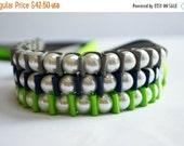 Clearance Sale Pearl Bracelet. Sallie Ribbon Bracelet Trio.SEAHAWKS. Lady Super Fan. Fashion Jewelry. Football. Sports Fanatic. Stocking Stu