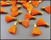 4 small bright orange color colorful tassels, tassel with brass metal bail 2049G-OR