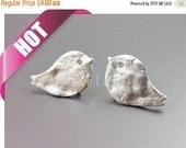 15% OFF Best selling item / 2 Bird stud earrings, textured cute baby chick stud earrings, jewelry supply E1790-MR (matte silver, earrings, 2