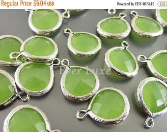 15% OFF 2 bezeled 13mm peridot opal green glass pendants, necklace pendants 5064R-PEO-13