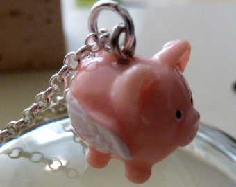Pink Flying Pig on Sterling Silver Chain