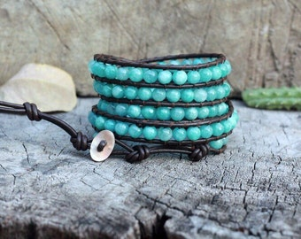 Amazonite 5 Wrap Leather Bracelet, 6mm, Shell button
