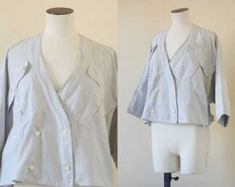 Wide blouse | Oversized bathsleeve cotton shirt | 1980's by Cubevintage | medium to large