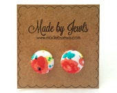 Fabric Button Earrings - Spring Watercolors - Buy 3, get 1 FREE