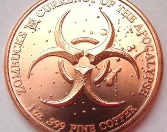 THE AMERICAN ZOMBUFF Zombucks  ZomBuff Large 1oz Pure Copper jetton Medallion Token