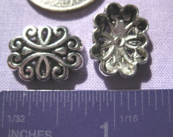 Oval Slider Connector Charm 2 pieces Tibetan Silver Jewelry Supply