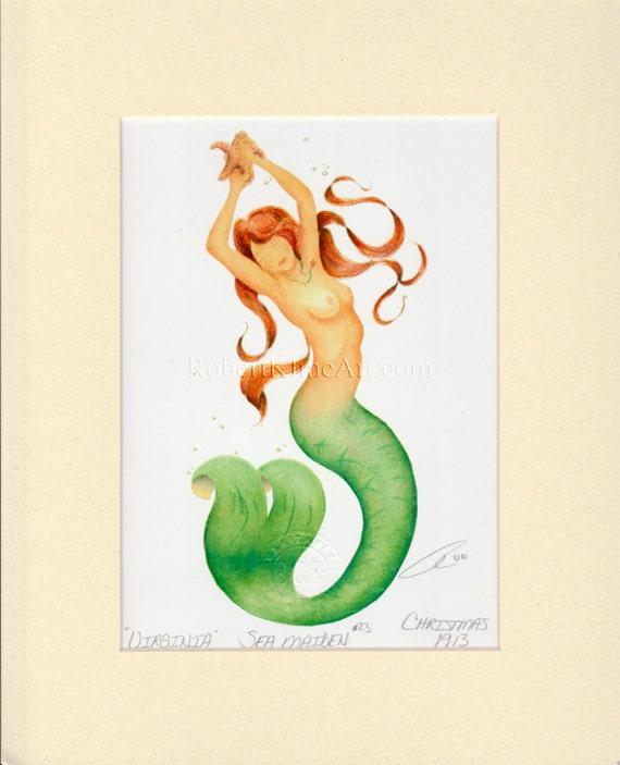 "Mermaid Virginia Starfish Art Signed Robert Kline Matted 8"" x 10"" Print Fantasy Nautical Gift Beach House Home Condo Bathroom Boat Decor"