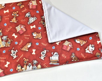 Waterproof Dog Crate or Food Mat, For Pet Gift, Puppy Pad, Feeding, Red with Puppy Bones Fabric, Dog Gift