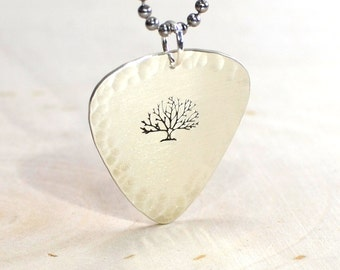 Big tree sterling silver guitar pick necklace with hammered edges - solid 925 NL034