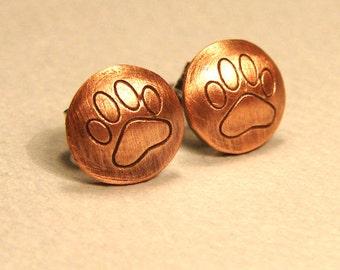 Paw print stud earrings in copper  - ER321
