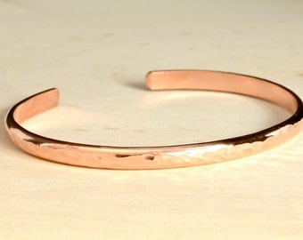 Dainty Hammered Copper Cuff Bracelet with Personalized Inside Engraving for Stacking or Accent Accessory - BR018
