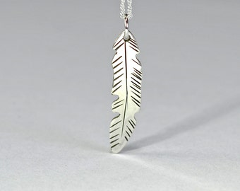 Dainty Silver Feather necklace in solid 925 sterling silver and cut freehand with hand engraved details- NL332