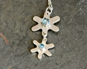 Blue Topaz Double Flower Sterling Silver Double Charm Necklace - NL709