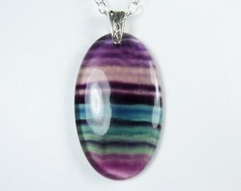 HUGE Fluorite Necklace, LARGE Translucent Fluorite Pendant, Purple, Violet, Teal, and Green Stripes, LONG Sterling Silver Adjustable Chain