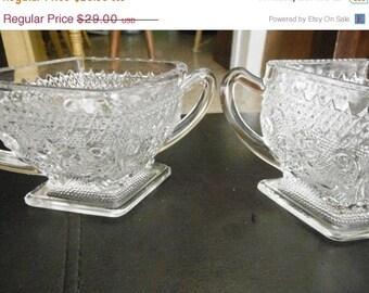 Vintage Sugar and Creamer Glass Set--HARD FIND--Vintage  15% off all 40 dollar and under vintage listings