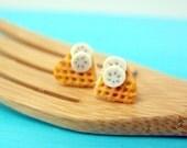 Waffle Earrings // Waffle Bites Breakfast Earrings // READY TO SHIP // Food Jewelry