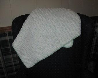 Crochet Baby Blanket in Light Blue, Soft Green & White - Baby Floor Mat, Play Mat