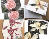 photography card set, flower note cards, art print stationery, 5 small blank cards and envelopes - custom set, choose any 5