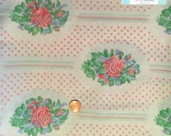 Twin Vintage Flat Sheet with Medallion Flowers
