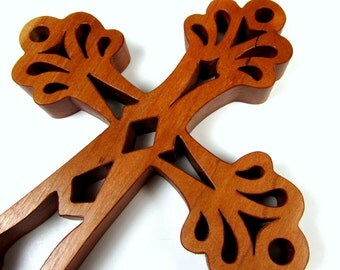 Cross / Ornate / MID SIZE 7 inch / Cherry Wood