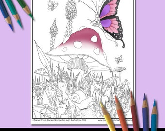 Whimsical Coloring Page, Adult Coloring Pages, Butterfly, Printable Coloring Pages, Coloring Pages to Print
