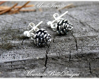 Sterling Silver Pinecone Earrings - Handmade Jewelry - Post Dangles - Ear Hooks Available - Gifts for Her - Pinecones - Studs - Woodland