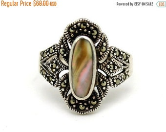 Fall into Vintage SALE Beautiful Art Deco Abalone Mother of Pearl Marcasite Sterling Silver Art Deco Vintage Ring