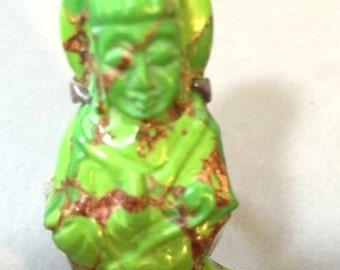 Large Carved Green Stone Quan Yin Buddha Sterling Silver Vintage Ring