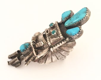 Stunning Sterling Silver Blue Turquoise Native American Kachina Vintage Ring Singed