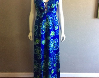 Vintage 1960s 1970s Hawaiian jumper dress // Hawaiian Tunic Pantssuit  Maxi Dress // Hawaiian Graphic Print Tent Dress //