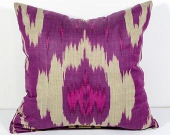 15x15, magenta ikat pillow cover, ikat pillow, magenta, cushion, case, cotton pillow cover, decorative pillow, magenta pillows, magenga ikat