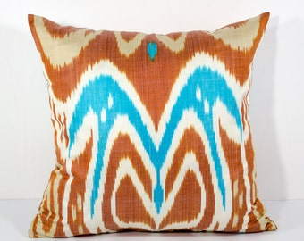 15x15 brown blue cream ikat pillow cover, brown pillows, blue pillows, blue cream, sofa pillows, cushions, ikats, ikat pillows throw pillows