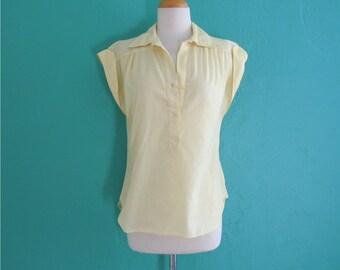 vintage 70's yellow cap sleeve top ~ medium large