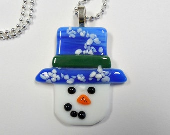 Snowman  pendant  fused glass cute with chain