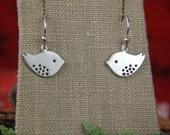 Silver bird charms and sterling silver earrings, modern charms, lovebird earrings, bird jewelry, bird earrings