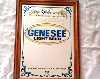 Genesee Light Beer Mirror.  Vintage Beer Wall Hanging Sign. Mirrored Beer Sign. Man Cave, Bar, Billards Room Decor Gift. Welcome Sign