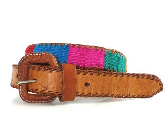 Vintage Guatemala Woven and Leather Belt // Size 28