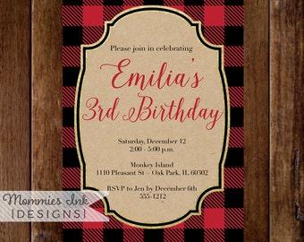 Buffalo Plaid Birthday Invitation, Buffalo Check Christmas Invite, Red and Black Holiday Invitation, Kraft Paper Invitation