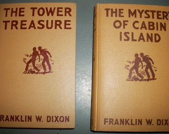 Vintage Pair of Hardy Boys Brown Covers Tower Treasure and Mystery of Cabin Island