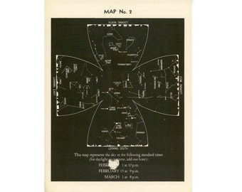 1942 VINTAGE FEBRUARY LITHOGRAPH constellations star map original vintage celestial astronomy print