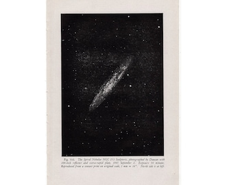 1946 SPIRAL NEBULA LITHOGRAPH original vintage celestial astronomy print - star cluster ngc 253