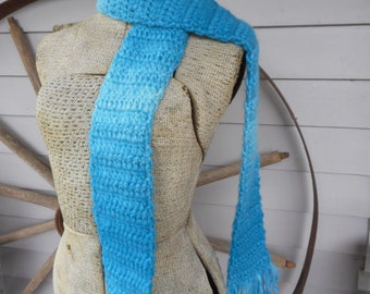 The Oasis Scarf. Handmade Crochet Boho Ombre Turquoise Ocean Blue soft fringe Neck wrap Acrylic, Polyester, Wool & Nylon