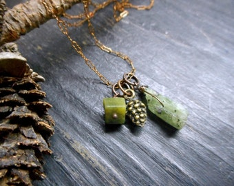 The Pine Grove Necklace. Brass Pine cone charm, Aventurine and Green Kyanite Gemstone agate necklace