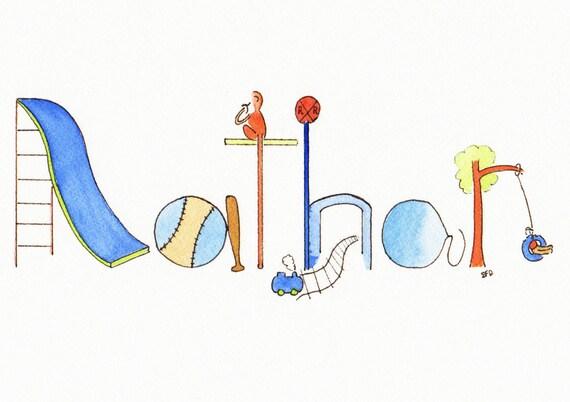 Personalized Name Art, Custom Baby Name Painting, Child Room Decor, Watercolor Illustration, Sports, Trains, Toys, Monkey, Nathan, Dalton