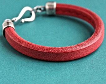 Men's Red Leather Bracelet, Thick Leather and Silver Bracelet