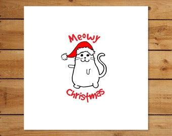 Square Meowy Christmas Holiday Card - Cat & Kitten Greeting